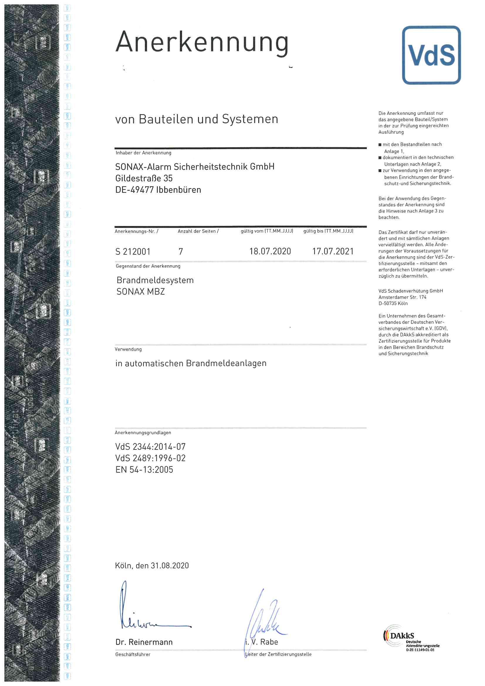 Zertifikat_Brandmeldesystem SONAX MBZ S212001
