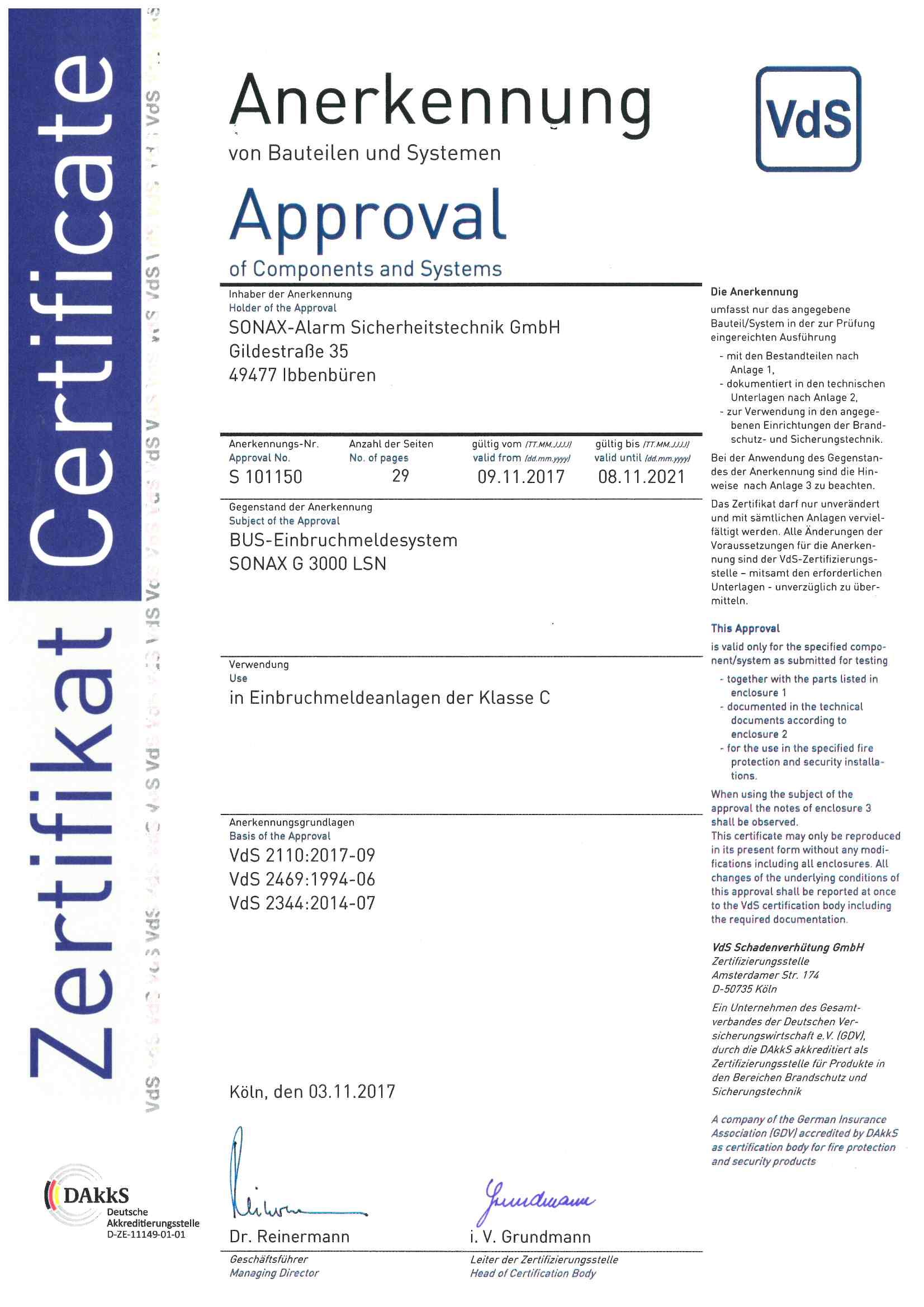 Zertifikat_Bus Einbruchmeldesystem SONAX G 3000 LSN S101150