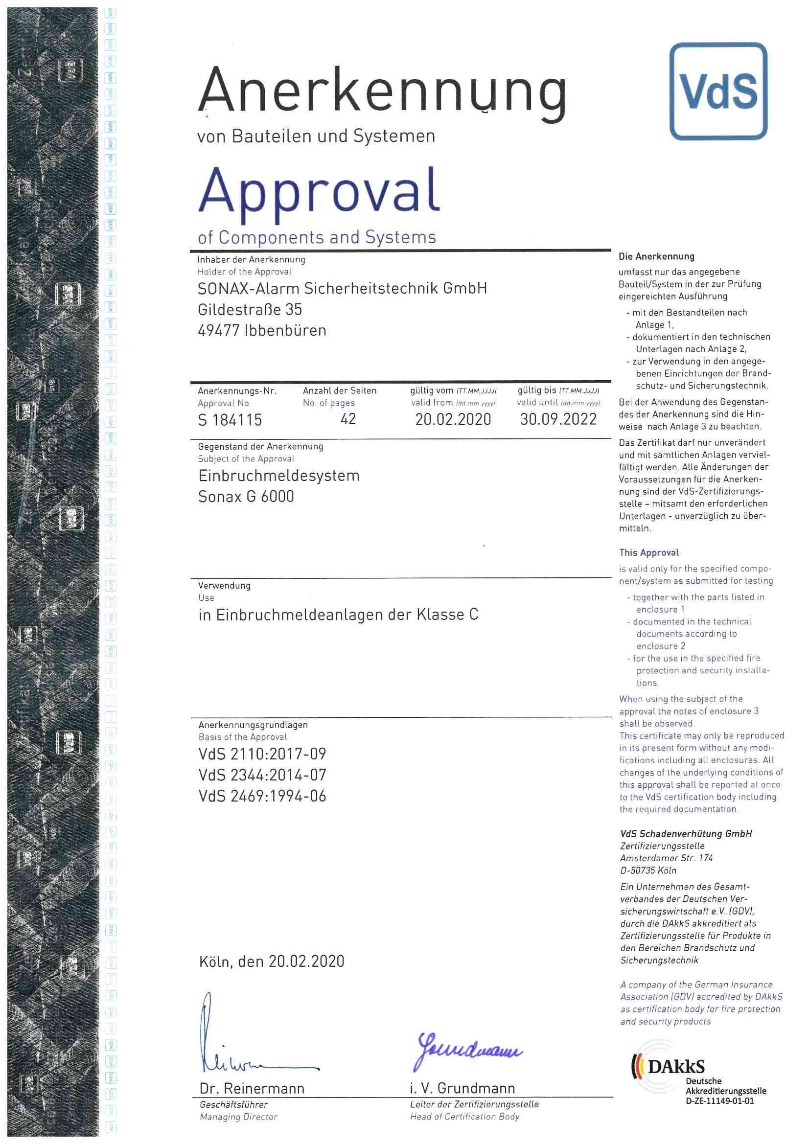 Zertifikat_Einbruchmesystem Sonax G 6000 S184115